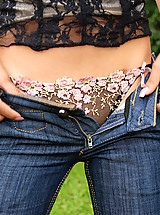 Cute girl next door works her jeans off  to show off her sexy panties